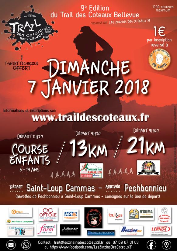 Affiche du trail des coteaux 2018