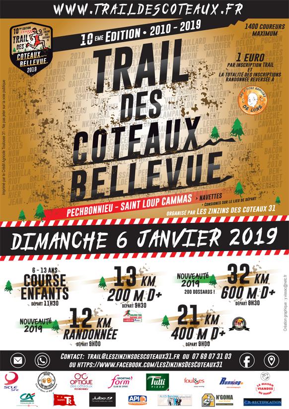 Affiche du trail des coteaux 2019